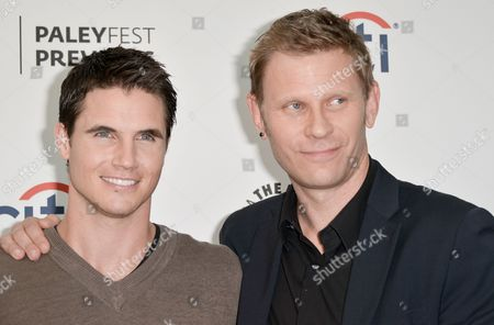 """Robbie Amell, left, and Mark Pellegrino arrive at the PaleyFest Previews: Fall TV show """"The Tomorrow People"""" at The Paley Center for Media on in Beverly Hills, Calif"""