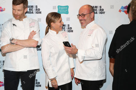Chef Robert Aikens,Chef Cat Cora and Chef Alfred Portale seen at The JBF Gala: Singapore's Culinary Crossroads, presented by the Singapore Tourism Board at the Rainbow Room on in New York