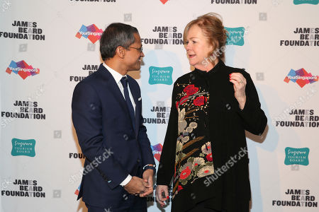 His Excellency Burhan Gafoor, Ambassador and Permanent Representative of Singapore to the United Nations and JBF President Susan Ungaro seen at The JBF Gala: Singapore's Culinary Crossroads, presented by the Singapore Tourism Board at the Rainbow Room on in New York