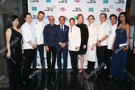 Singapore Tourism Board Regional Director, Americas, Kershing Goh, Chef Kyung Kim, Chef Robert Aikens, Chef Alfred Portale, His Excellency Burhan Gafoor, Ambassador and Permanent Representative of Singapore to the United Nations, Chef Cat Cora, JBF President Susan Ungaro, Chef Cheryl Koh, Chef Yew Eng Tong, Chef LG Han, Director, Attractions, Dining and Retail, Singapore Tourism Board, Ranita Sundra seen at The JBF Gala: Singapore's Culinary Crossroads, presented by the Singapore Tourism Board at the Rainbow Room on in New York