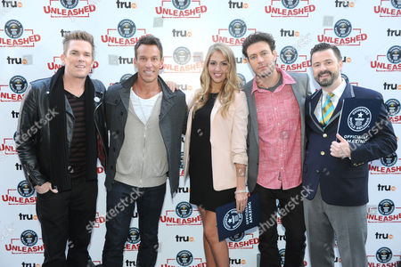 TruTV personalities, left to right, Mark McGrath, Dan Cortese, Liz Smith, Zach Selwyn and Stuart Claxton are seen at the truTV & GUINNESS WORLD RECORDS event celebrating the premiere of the Guinness World Records Unleashed series, in New York's Times Square