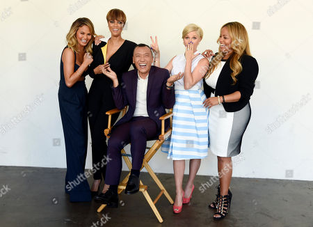 "Co-hosts, from left, Chrissy Teigen, Tyra Banks, Joe Zee, Leah Ashley and Lauren Makk, from the lifestyle talk show ""FABLife,"" pose at the 2015 Television Critics Association Summer Press Tour in Beverly Hills, Calif. The syndicated daily lifestyle talk show premieres in North America on Sept. 14"