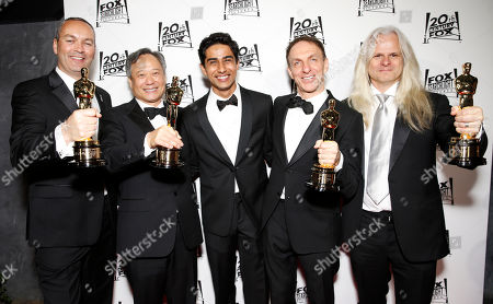 Animation Director Erik-Jan De Boer, Director Ang Lee, Suraj Sharma, Composer Mychael Danna and Cinematographer Claudio Miranda attend the Twentieth Century Fox And Fox Searchlight Pictures Academy Awards Nominees Party at Lure on in Los Angeles