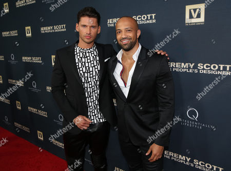 Edwin Mejia, left, and Vlad Yudin attend the World Premiere of JEREMY SCOTT: THE PEOPLE'S DESIGNER, presented by The Vladar Company and Quintessentially at the TCL Chinese Theatre, in Hollywood, Calif