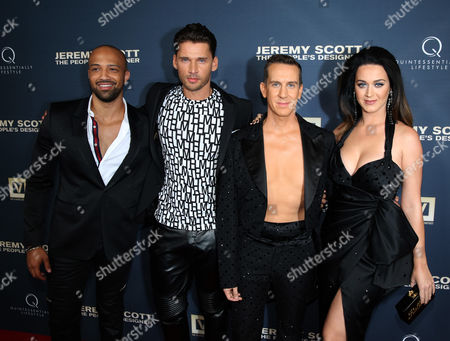 Edwin Mejia, and from left, Vlad Yudin, Jeremy Scott and Katy Perry attend the World Premiere of JEREMY SCOTT: THE PEOPLE'S DESIGNER, presented by The Vladar Company and Quintessentially at the TCL Chinese Theatre, in Hollywood, Calif