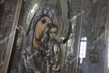 A ornate mural depicting Mary is seen in the interior of the Orthodox Church of Saint Sergius of Radonezh, Johannesburg, South Africa, 27 September 2017. The Russian Orthodox Curch was completed in 2003 and aims to be a spiritual and cultural link for the Russian communities living in South Africa with their mother land. The design of the church combines elements from various Russian architectural schools namely like the Vladimir-Suzdalsky and the Moscow and the Saint Petersburg schools and the dark wood partition (iconostasis) separating the altar is made in early Byzantine style. The splendid Tsar gates are finished in the baroque style of Moscow in the 17th century. Services are held on Sunday's and Wednesday's.