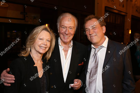 """From left, Elaine Taylor, cast member Christopher Plummer and Director Des McAnuff pose during the party for the opening night performance of """"A Word or Two"""" starring Christopher Plummer at the Center Theatre Group/Ahmanson Theatre on January, 22, 2014, in Los Angeles, Calif"""