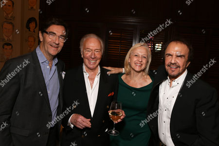 """From left, Stephen Segaller, VP Programming, WNET, cast member Christopher Plummer, Paula A. Kerger, President and CEO, PBS, and musician Dave Clark pose during the party for the opening night performance of """"A Word or Two"""" starring Christopher Plummer at the Center Theatre Group/Ahmanson Theatre on January, 22, 2014, in Los Angeles, Calif"""