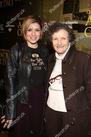"From left, musician Karen Inder and actress Angela McEwan pose during the arrivals for the opening night performance of ""A Word or Two"" starring Christopher Plummer at the Center Theatre Group/Ahmanson Theatre on January, 22, 2014, in Los Angeles, Calif"
