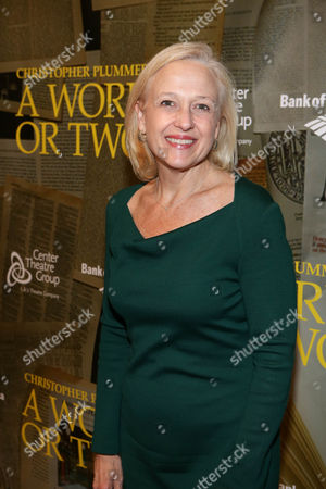 """Paula A. Kerger, President and CEO, PBS, poses during the arrivals for the opening night performance of """"A Word or Two"""" starring Christopher Plummer at the Center Theatre Group/Ahmanson Theatre on January, 22, 2014, in Los Angeles, Calif"""