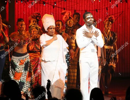 "Stock Picture of Cast member Adesola Osakalumi during the curtain call for the opening night performance of ""Fela!"" at the Center Theatre Group/Ahmanson Theatre on in Los Angeles, Calif"
