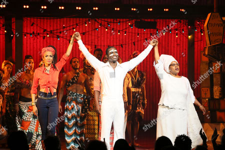 "Stock Image of From left, cast members Michelle Williams, Adesola Osakalumi and Melanie Marshall during the curtain call for the opening night performance of ""Fela!"" at the Center Theatre Group/Ahmanson Theatre on in Los Angeles, Calif"
