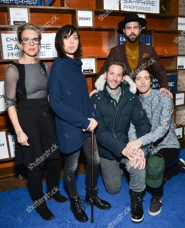 """Jeff Baena Director Brett Gelman, center, poses with cast members Lauren Weedman, left, Aubrey Plaza, Brett Gelman and Thomas Middleditch at the """"Joshy"""" cast party hosted by Chase Sapphire Preferred during the 2016 Sundance Film Festival, in Park City, Utah"""