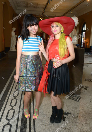 Susie Bubble and Anna Trevelyan arrive at the 'Club to Catwalk' - London Fashion in the 1980's Exhibition launch at Victoria and Albert Museum in London on