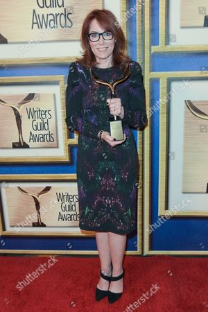 Margaret Nagle attends the press room at the 2015 Writers Guild Awards held at the Hyatt Regency Century Plaza, in Los Angeles