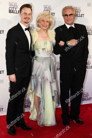 Stock Picture of Christopher Wheeldon, from left, Lesley Stahl and Peter Martins attend the 2016 New York City Ballet Spring Gala at the David H. Koch Theater, in New York