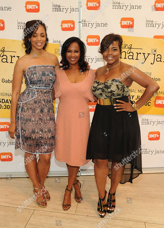 Latarsha Rose (left), Robinne Lee (center), and Brely Evans attends the Los Angeles screening of BET's Being Mary Jane at the Paley Center for Media, on in Beverly Hills, California