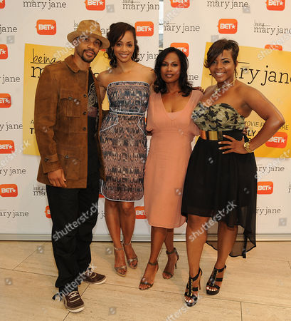 Aaron D. Spears, Latarsha Rose, Robinne Lee, and Brely Evans attends the Los Angeles screening of BET's Being Mary Jane at the Paley Center for Media, on in Beverly Hills, California