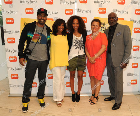 Left to right) Salim Akil, Margaret Avery, Mara Brock Akil, BET Chairman and CEO Debra L. Lee, and Richard Roundtree attends the Los Angeles screening of BET's Being Mary Jane at the Paley Center for Media, on in Beverly Hills, California