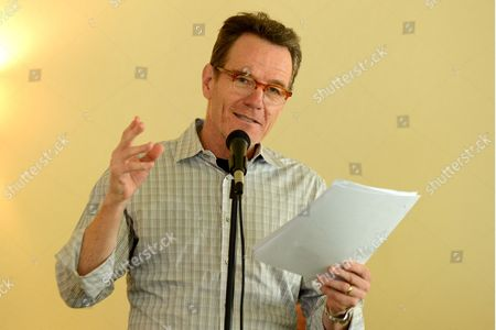 """Bryan Cranston reads from """"The Magiker,"""" by Charles Dennis, in The Caribou Room at Sportsmen's Lodge, in Studio City, Calif"""