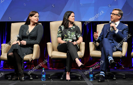 """Paul Feig, right, director of """"Bridesmaids"""" and the upcoming """"The Heat,"""" answers a question as actress Geena Davis, left, and Regal Entertainment Group CEO Amy Miles look on at the """"Driving Financial Success: Women + Movies = Bigger Box Office"""" luncheon at CinemaCon 2013 on in Las Vegas"""