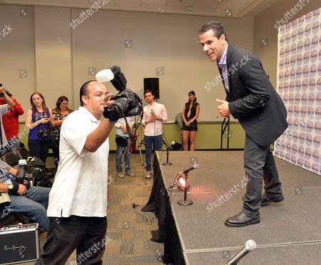 Marco Antonio Regil backstage at Festival People en Espanol 2013, on at the Alamodome in San Antonio, Texas