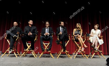 """L-R) Executive producer/director Marcos Siega, creator/executive producer Kevin Williamson and actors Kevin Bacon, James Purefoy, Natalie Zea and Valorie Curry participate in FOX's """"The Following"""" finale screening panel at the Academy of Television Arts & Sciences' Leonard H. Goldenson Theater on in North Hollywood, California"""