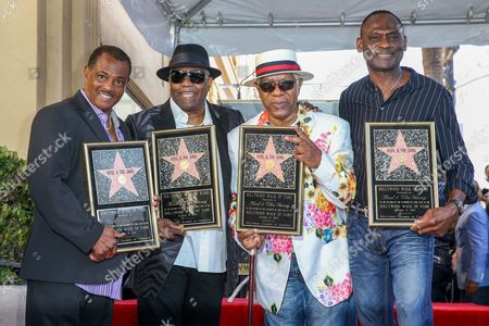 "Robert ""Kool"" Bell, from left, Ronald Khalis Bell, Dennis ""DT"" Thomas and George Brown attend a ceremony honoring Kool and The Gang with a star on The Hollywood Walk of Fame, in Los Angeles"