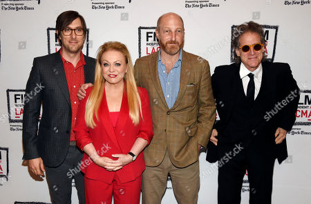 """Jonathan Ames, second from right, creator of the Starz television series """"Blunt Talk,"""" poses with cast members, left to right, Timm Sharp, Jackie Weaver and Richard Lewis at a screening of the show, in Los Angeles"""