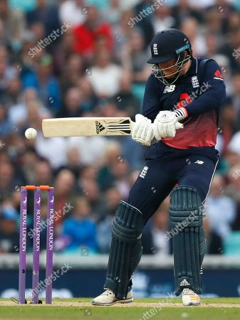 Jonathan Bairstow plays a shot off the bowling of West Indies' captain Jason Holder during the One Day International cricket match between England and the West Indies at the Oval cricket ground in London