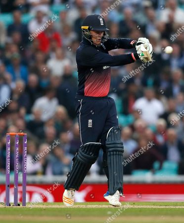 Stock Photo of England's Jason Roy plays a shot off the bowling of West Indies' captain Jason Holder during the One Day International cricket match between England and the West Indies at the Oval cricket ground in London