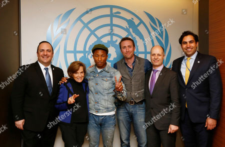 """From left to right, Aaron Sherinian, Chief Communications and Marketing Officer, United Nations Foundation, Sylvia Earle, National Geographic Explorer-in-Residence, Pharrell Williams, Grammy Award-winning musician, entrepreneur and philanthropist, Philippe Cousteau, Explorer, Environmentalist, and Founder of EarthEcho International, Maher Nasser, Officer-in-Charge, Department of Public Information, United Nations, and Ahmad Alhendawi, UN Secretary General's Envoy on Youth, are pictured at the United Nations on the United Nations """"International Day of Happiness"""", in New York. Williams, in a partnership with the United Nations and the United Nations Foundation, was joined by 1,700 students in the UN General Assembly Hall where they learned how to take climate action in support of efforts including the Live Earth network of events. Pharrell's efforts today included a digital activation with Google, inviting people to join a Global Happy Party for #HappyDay and #HappyPlanet"""