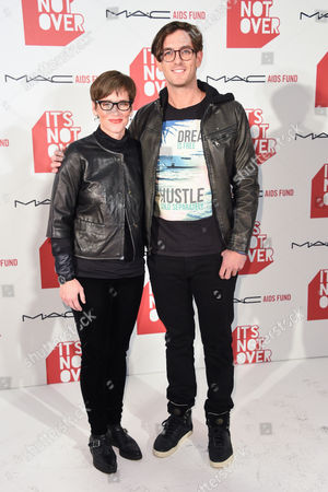 """Nancy Mahon, left and Andrew Jenks arrive at M·A·C Cosmetics and the M·A·C AIDS Fund's worldwide premiere of It's Not Over"""" at Quixote Studios,, in West Hollywood, California"""