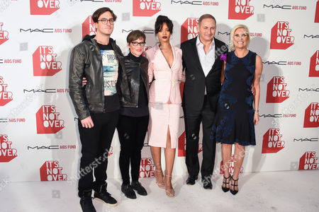 """Andrew Jenks, left Nancy Mahon, Rihanna, John Demsey and Karen Buglisi Weiler right arrives at M·A·C Cosmetics and the M·A·C AIDS Fund's worldwide premiere of It's Not Over"""" at Quixote Studios,, in West Hollywood, California"""