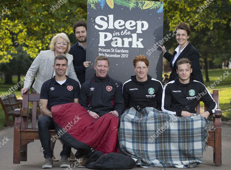 Ann Budge and Leeann Dempster met with Social Bite co-founder Josh Littlejohn MBE to show their support, alongside Hibernian's Simon Murray and Brandon Barker and Heart of Midlothian's Aaron Hughes and Gary Locke