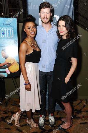 """Anders Holm and Cobie Smulders Actors Gail Bean, from left, Anders Holm, and Cobie Smulders attend the """"Unexpected"""" Screening and Q&A held at Sundance Sunset Cinemas on in Los Angeles"""