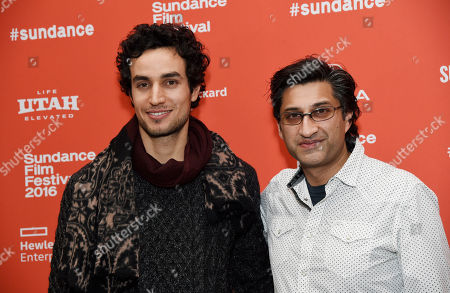 "Adam Bakri, left, a cast member in ""Ali & Nino,"" poses with the film's director Asif Kapadia at the premiere of the film at the 2016 Sundance Film Festival, in Park City, Utah"
