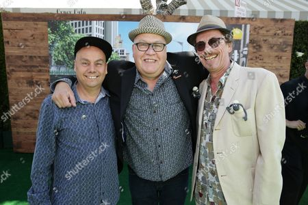 """Writer/Director Mark Burton, Writer/Director Richard Stark and Cinematographer Dave Alex Riddett seen at Los Angeles Special Screening of Lionsgate's """"Shaun the Sheep Movie"""" at Regency Village Theatre on Saturday, August 01, [2015, in Westwood, CA"""