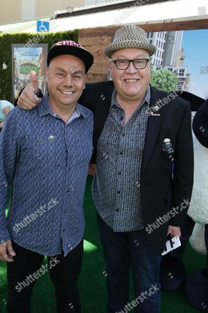 """Writer/Director Mark Burton and Writer/Director Richard Stark seen at Los Angeles Special Screening of Lionsgate's """"Shaun the Sheep Movie"""" at Regency Village Theatre on Saturday, August 01, [2015, in Westwood, CA"""