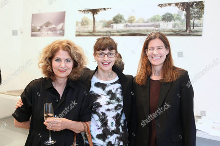 From left, Sonia Eram, Honor Fraser and Erin Wright pose during a party to unveil the design by the Los Angeles-based architecture firm Johnston Marklee for the Menil Drawing Institute held at the Johnston Marklee Design Studio on in Los Angeles, Calif