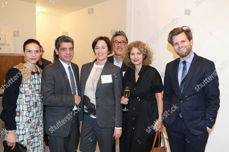 Stock Photo of From left, Ana Prvacki, John Geresi, Sharon Johnston, founder and principal of Johnston Marklee, Mark Lee, founder and principal of Johnston Marklee, Sonia Eram and Nicholas Hofstede, Johnstone Marklee pose during a party to unveil the design by the Los Angeles-based architecture firm Johnston Marklee for the Menil Drawing Institute held at the Johnston Marklee Design Studio on in Los Angeles, Calif