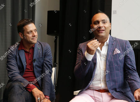 """Moderator George Stroumboulopoulos and Russell Peters seen at Netflix's """"Russell Peters: Notorious"""" Screening and Q&A at 2013 TIFF, on Monday, Sep, 9, 2013 in Los Angeles"""