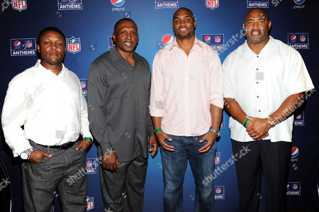 From left, Barry Sanders, Tim Brown, Amani Toomer and Dermontti Dawson on the Blue Carpet at the Pepsi NFL Anthems Kickoff Eve, at the Hard Rock Cafe in New York