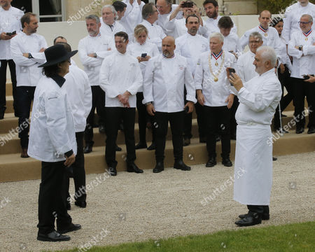Chef Marc Veyrat is photographed by chef Guy de Savoy during an event at the Elysee Palace in Paris, France, 27 September 2017. 180 top chefs were invited to the Eylsee Palace to promote the French cuisine.
