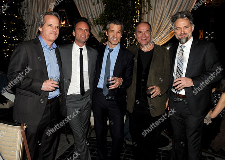"""From left, Executive producer Graham Yost, Walton Goggins, Timothy Olyphant, John Kapelos and David Meunier are seen at the after party for the Red Carpet Premiere Screening of FX's """"Justified,"""" on at Riva Bella in Los Angeles, Calif"""