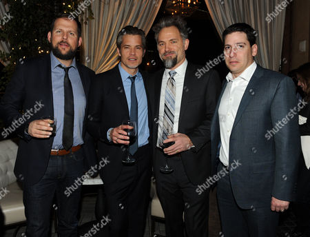 """Presidents, Original Programming for FX Networks and FX Prods. Nck Grad, left, and Eric Schrier, right, Timothy Olyphant, second from left, and David Meunier, second from right, are seen at the after party for the Red Carpet Premiere Screening of FX's """"Justified,"""" on at Riva Bella in Los Angeles, Calif"""