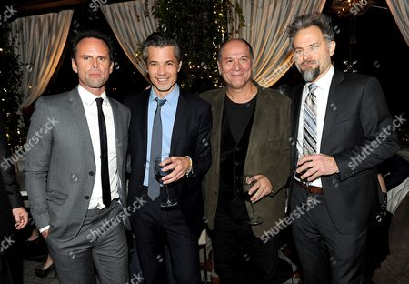 """From left, Walton Goggins, Timothy Olyphant, John Kapelos and David Meunier are seen at the after party for the Red Carpet Premiere Screening of FX's """"Justified,"""" on at Riva Bella in Los Angeles, Calif"""