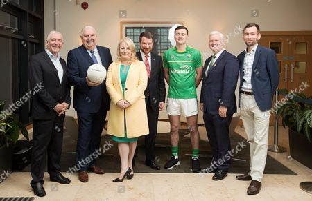 Pictured at the sponsorship announcement of EirGrid as team sponsor for the Ireland International Rules side that will travel to Australia over the two-test series in November is (L-R) Cormac Farrell, Business Marketing Manager, O?Neills, manager Joe Kernan, Rosemary Steen, Director of External affairs, EirGrid, Richard Andrews, Australian ambassador to Ireland, Conor McKenna, GAA President Aogan O Fearghail and Gavin Doyle, Marketing manager, GAAGO. EirGrid is a state-owned company that operates the national grid in Ireland. EirGrid?s task is to deliver a safe, secure and reliable supply of electricity now, and in the future