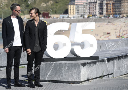 US filmmaker Matthew Porterfield (L) and US actor Mccaul Lombardi during the presentation of the movie 'Sollers Point' at the 65th edition of San Sebastian International Film Festival, in San Sebastian, Basque Country, northern Spain, 27 September 2017. The film competes in the official section of the festival, which runs until the upcoming 30 September.