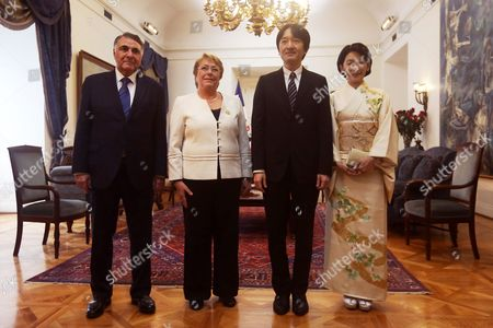 Chilean President Michelle Bachelet (C-L) and the Undersecretary of Foreign Affairs Edgardo Riveros (L) meet Prince Akishino (C-R) of Japan and his wife Princess Kiko (R), at La Moneda Palace, in Santiago, Chile, 27 September 2017. Prince Akishino and Princess Kiko of Japan visit Chile to meet Chilean President Michelle Bachelet, celebrate the 120 years of diplomatic relations and meet the Japanese community in Chile.